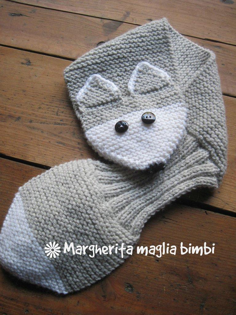 Sciarpa volpe argentata bimbo fatta a mano in lana e alpaca - idea regalo!