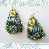orecchini shibori verdi