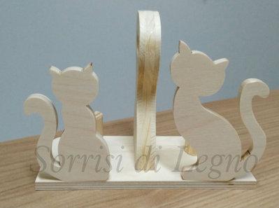 Porta bicchieri gatti in legno