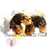 Orecchini ciambellone - cake - con cioccolato i scaglie e fuso - fiocco merletto - handmade