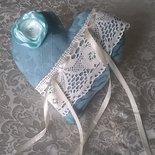 CUSCINO PORTAFEDI a cuore, cuscinetto porta fedi azzurro , matrimonio