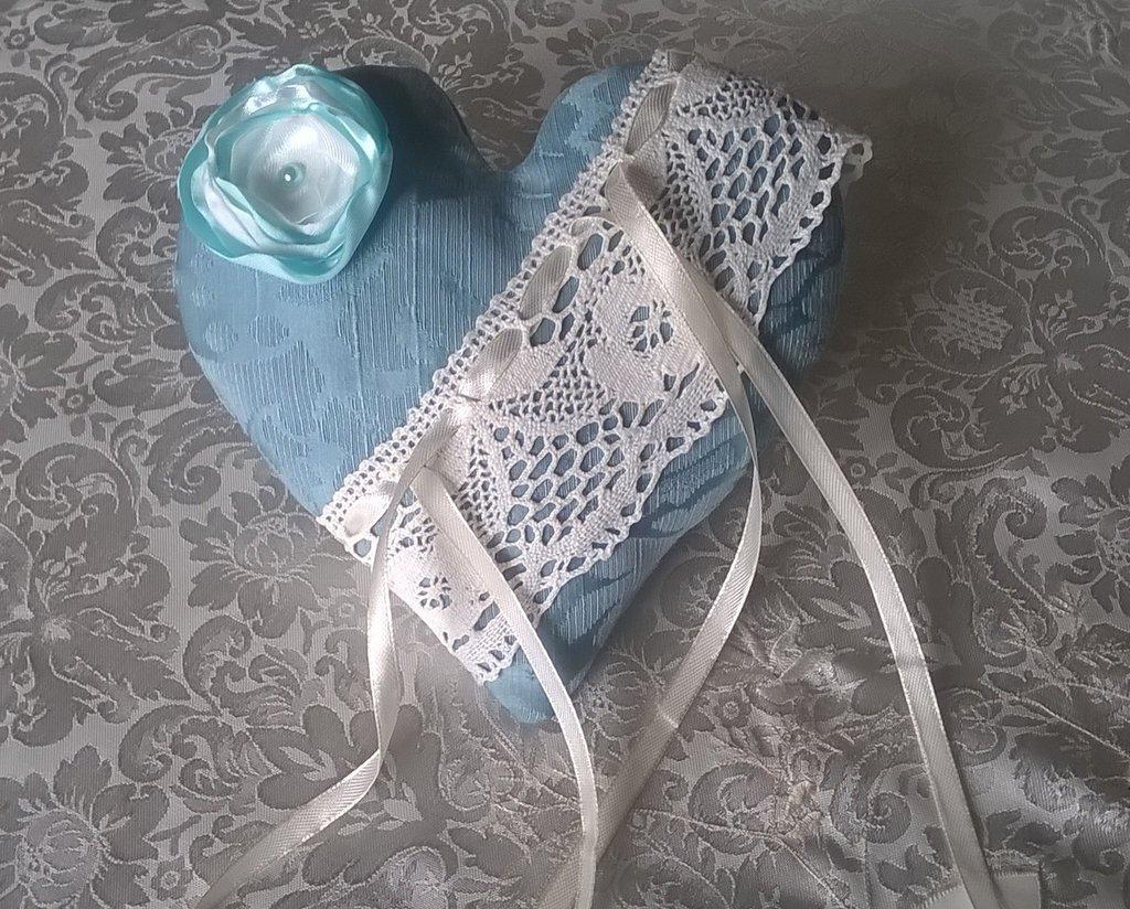 Matrimonio Azzurro Xl : Cuscino portafedi a cuore cuscinetto porta fedi azzurro