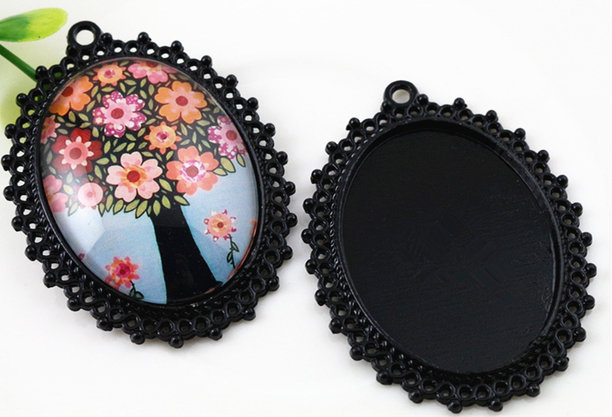 NOVITA'! Base cabochon color nero (dcod.427)