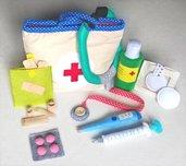 Set dottore - valigetta in stoffa con accessori in feltro