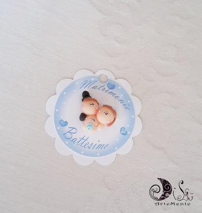 Card Art etichetta segnaposto matrimonio tonda smerlata bianca, matribattesimo, segnaposto sposini, segnaposto bebè, personalizzabile