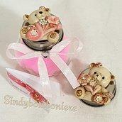 Bomboniere bimba magnete orsetti rosa con barattolo portaspezie confetti rosa