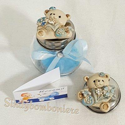 Bomboniere bimbo magnete orsetti con barattolo portaspezie confetti azzurri