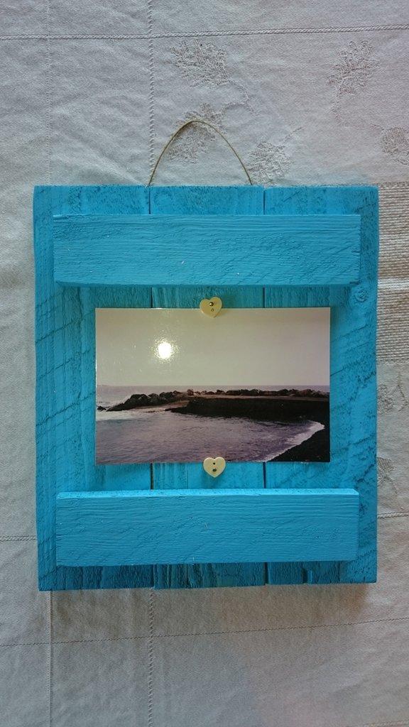 Portafoto in legno azzurro 21x28