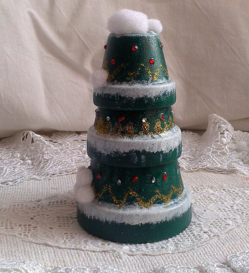 Alberello di Natale fatto con vasetti in Terracotta