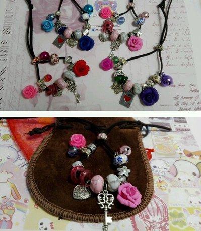 Bracciale cordino Rosa in FIMO,colori fantasia,offerta San Valentino love