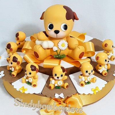 Torta bomboniera cresima comunione cagnolino Baubau confetti e bigliettino