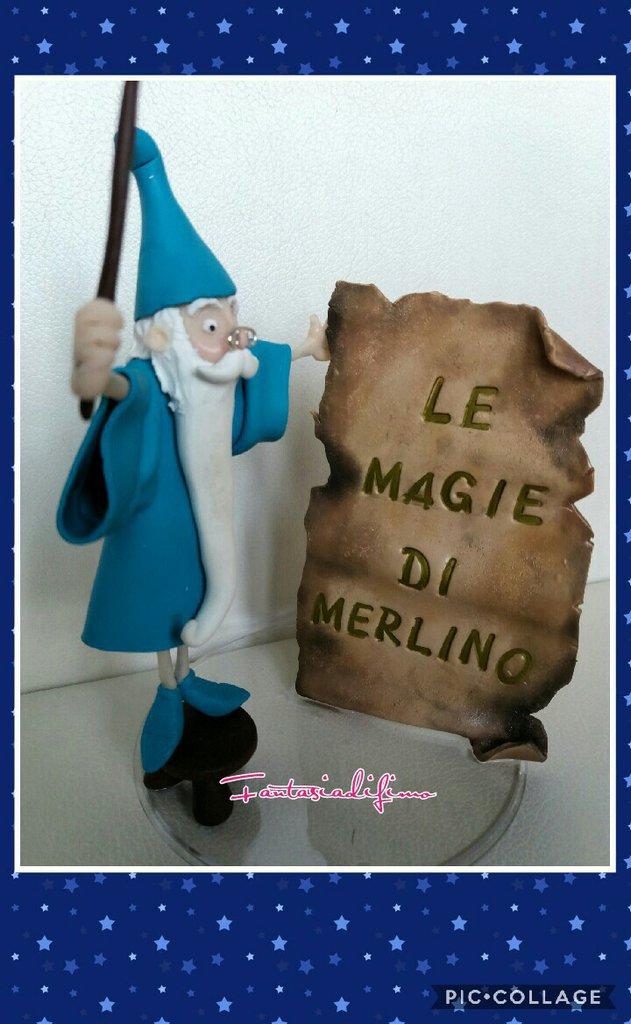 topper Mago Merlino decorazione torte o regalo