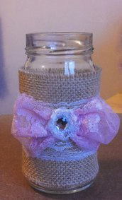 Barattolo in vetro decorato in stile vintage con juta fiocco doppio in pizzo rosa serie The old vintage jar