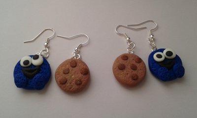 """Orecchini in fimo """"cookie monster"""""""