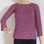 maglia traforata in lana color lampone
