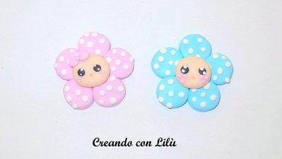 Magnete o ciondolo in fimo fiore bebè cm4