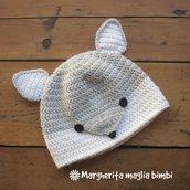 Cappello volpina, cuffia, berretto volpe argentata - bambino - lana/alpaca - a mano/uncinetto