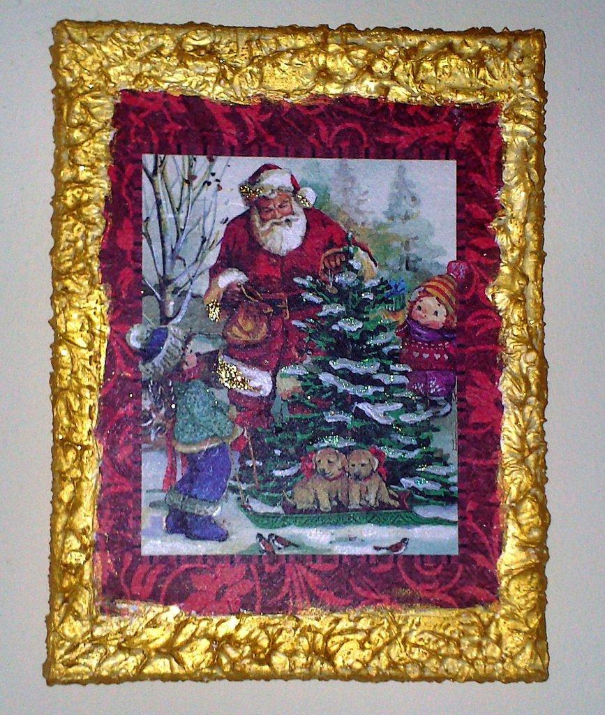 Quadro con Babbo Natale e Cornice in Rilivo