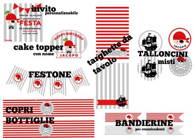 KIT PARTY pirata stampabile in formato pdf A4