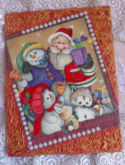 Quadro su Tela in Rilievo, Amici di Babbo Natale