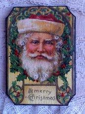 Targhetta in Legno Natalizia, Babbo Natale