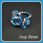 CURLY: Bracciale regolabile in Alluminio Argento e Azzurro