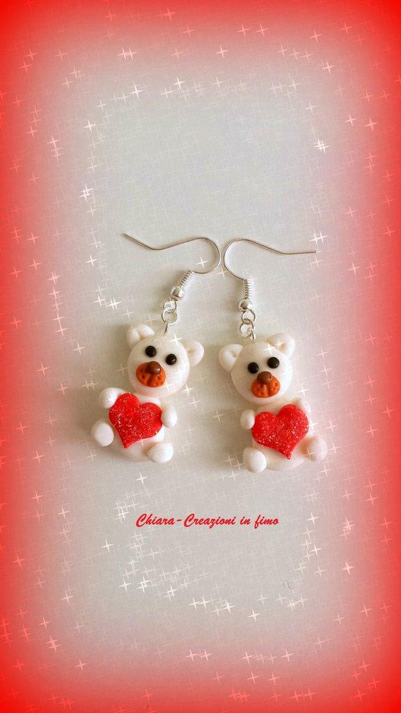Idea regalo San Valentino Orecchini in fimo handmade Orsetti innamorati