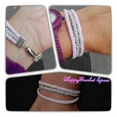 Bracciale 3 fili rosa e argento