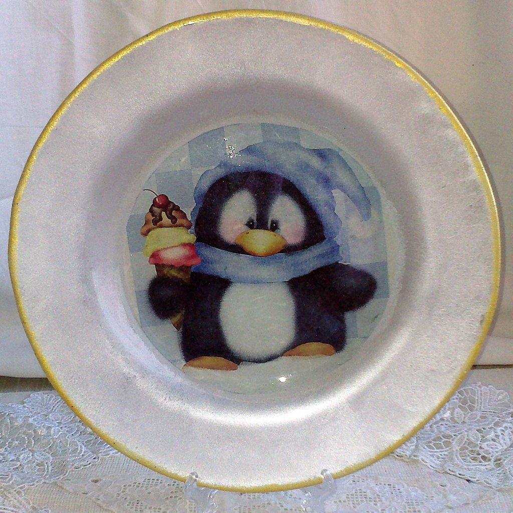 Piatto in Vetro con Pinguino