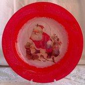 Piatto in Vetro con Babbo Natale