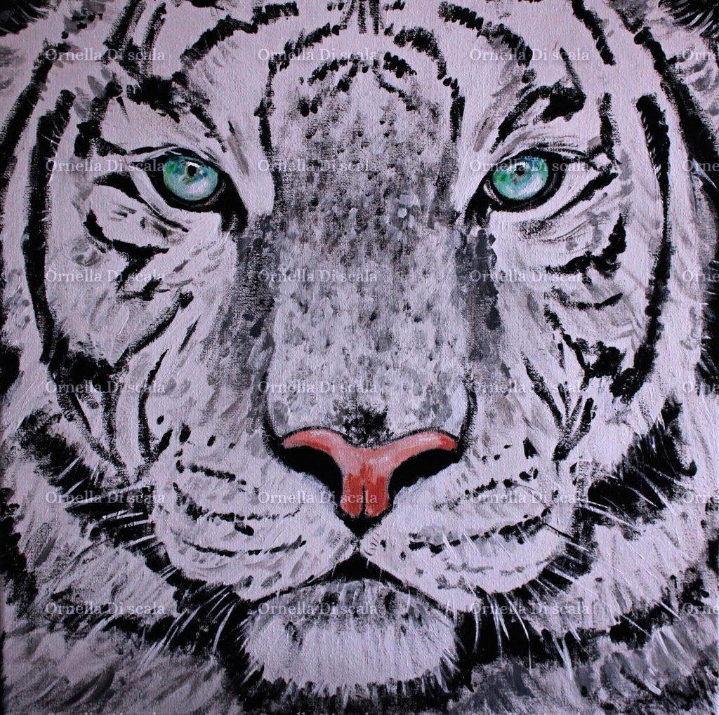 Quadro dipinto tigre siberiana bianca acrilico su tela
