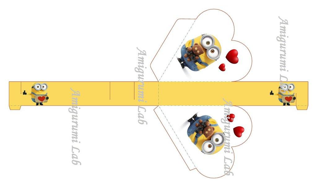 Scatoline minion cuore stampabili ,printable box gift