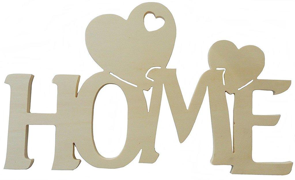 Scritta in legno home con cuori cm L 30x 18 h spessore 8 mm