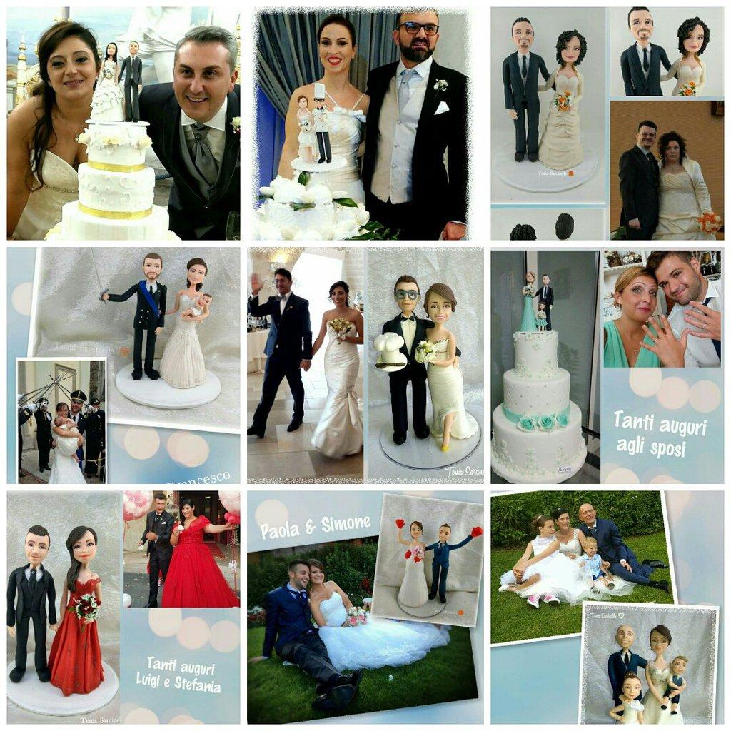 Wedding cake topper sposi caricature porcellana fredda
