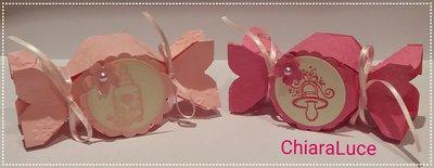 Scatolina Bomboniera Nascita candy box rosa/fucsia bimba