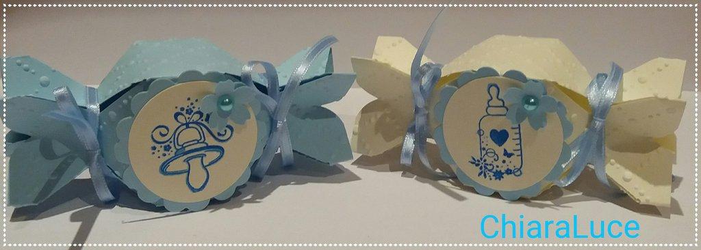 Scatolina Bomboniera Nascita candy box celeste/panna bimbo
