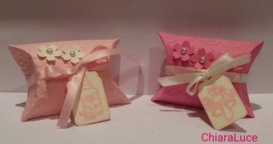 Scatolina bomboniera nascita pillowbox bimba