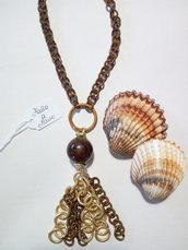 Collana fatta a mano con catena in al lu mio oro e bronzo,pietre dure.