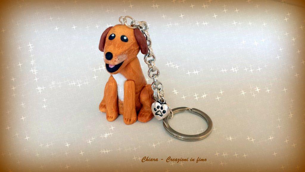 Portachiavi in fimo personalizzato con il vostro cane! miniature idee regalo