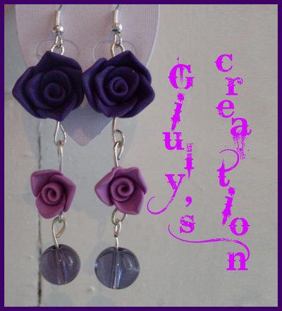 orecchini rosa viola doppia rosa