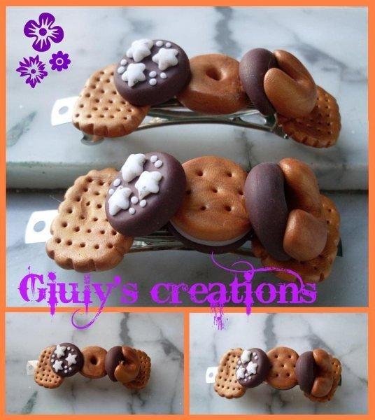 fermacapelli in fimo con biscotti