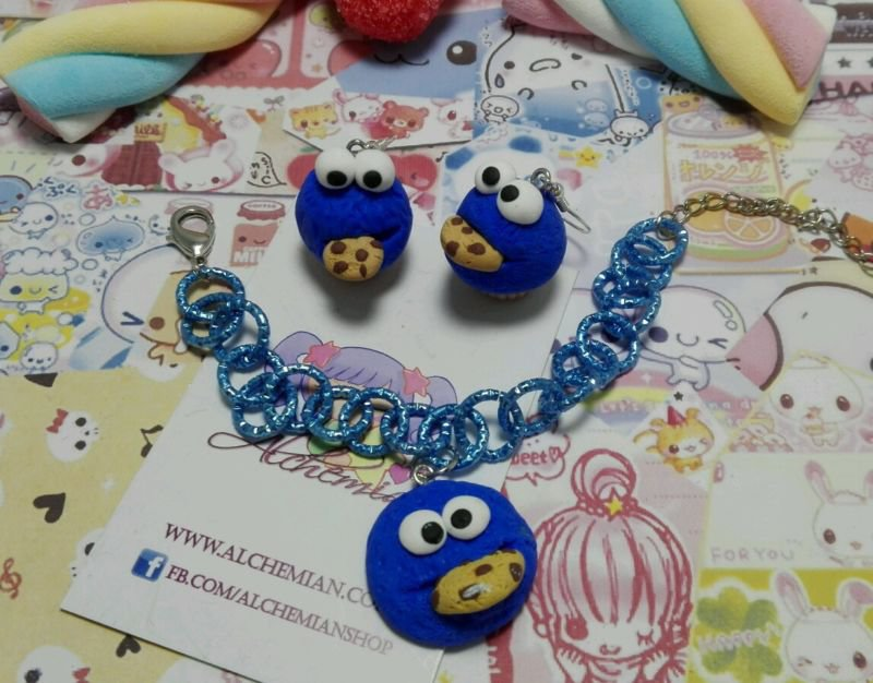 Set parure Bracciale orecchini Cookie Monster,biscotti cookies,kawaii sweet