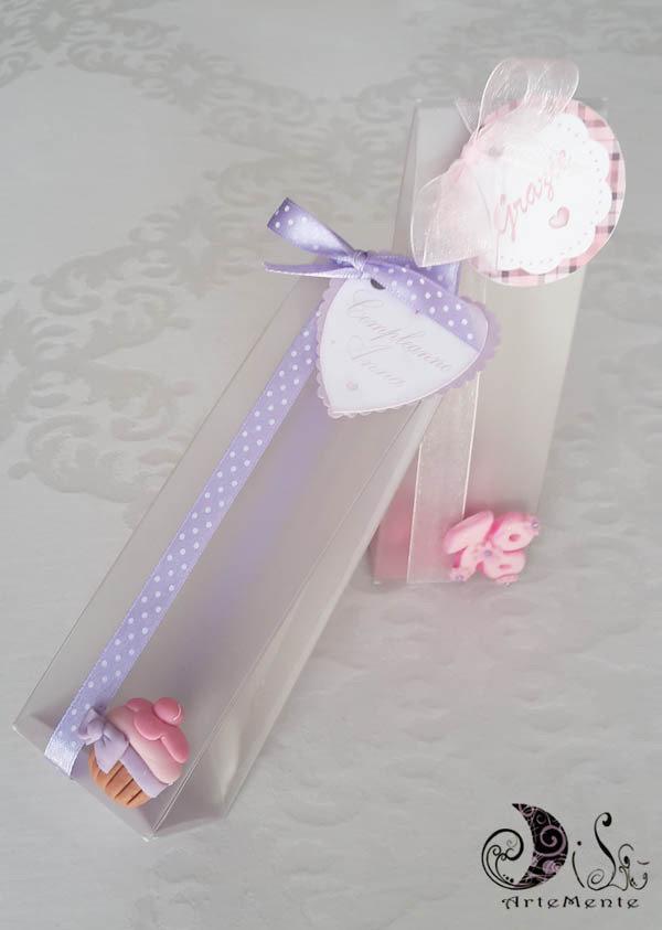 Favorito bomboniera compleanno cupcake, portaconfetti pvc satinato  XP71