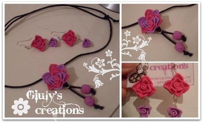 orecchini e collana con rose