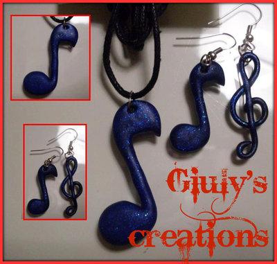 orecchini e collana nota musicale e chiave di violino