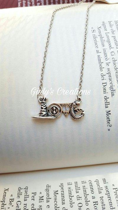 Collana love Harry Potter Cappello parlante Giratempo Hermione Doni della Morte Sambuco Nagini serpente Lord Voldemort Hogwarts HP grifondoro