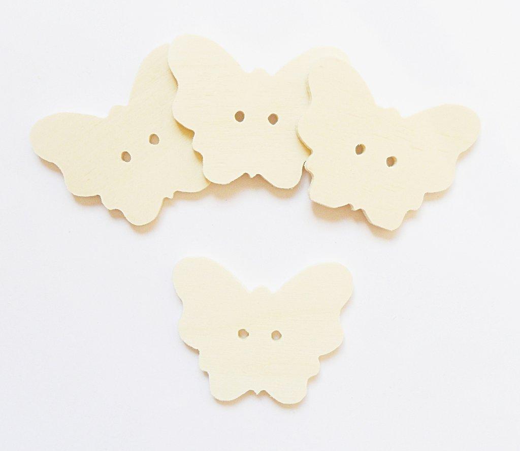 Bottoni il legno a forma di farfalla per il fai da te 6 PZ