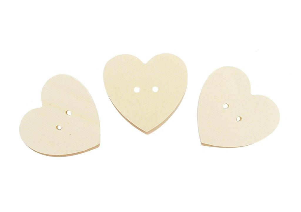 Bottoni il legno a forma di cuore per il fai da te 6 PZ