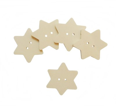 Bottoni il legno a forma di stella per il fai da te 6 PZ