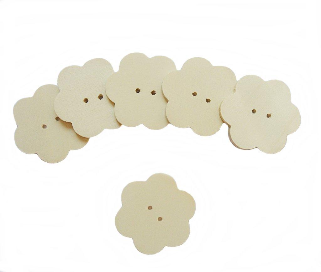 Bottoni il legno a forma di fiore per il fai da te 6 PZ
